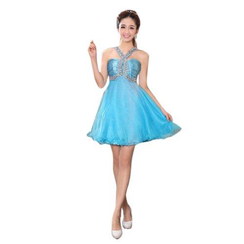 V Dearta Reissverschluss Linie Ausschnitt Abendkleider Mini Kleidungen Organza Aermellos Kurz Blau Damen A wUUrfqI
