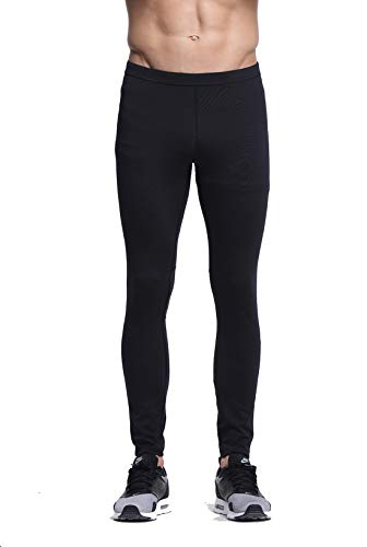 Truity Men's Performance Tight Stretchy Moisture-Wicking Mesh Quick-Dry Back Zip Pocket Leggings Black