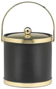 Kraftware Sophisticates Black with Brushed Gold 3-Quart Ice Bucket with Metal Cover, Bands and Bale Handle 50168