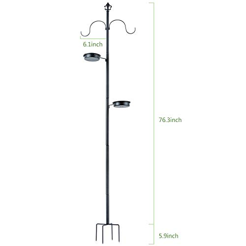 BOLITE 18014 Bird Feeding Bath Station, Multi Feeder Pole Stand Hanging Kit, Metal Deck Pole for Bird Feeders, Planters, Lanterns, Wind Chimes and More