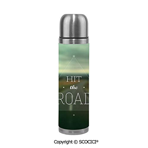 Double Wall Vacuum Insulated Stainless Steel Water Bottle Hit The Road Quote Inside A Transparent Triangle With Blurred Highway Background Travel Mug Thermos 17.6 OZ Insulation Pot
