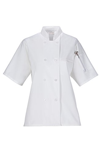 Women's Lightweight Chef Coat (Large, White) by Happy Chef