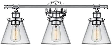 Globe Electric 51445 Parker 3-Light Vanity Light, Chrome, Clear Glass Shades