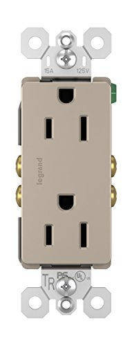 (Legrand - Pass & Seymour radiant 885TRNICC12 Decorator Tamper-Resistant 15A Duplex Wall Power Outlet, Brushed Nickel Finish)