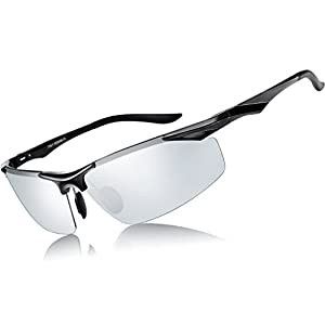 ATTCL Men's Sports Polarized Sunglasses Driver Golf Fishing Al-Mg Metal Frame 2206 BlackSilver