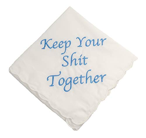 Keep Your Shit Together Wedding Handkerchief in Blue- Something Blue Bridal Keepsake