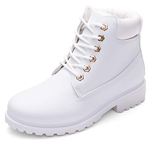 DADAWEN Women's Lace Up Low Heel Work Combat Boots Waterproof Ankle Bootie