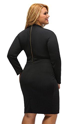 EOZY Manche Longue Hanche Robe Noir Soirée Party Grande Taille Femme Creux