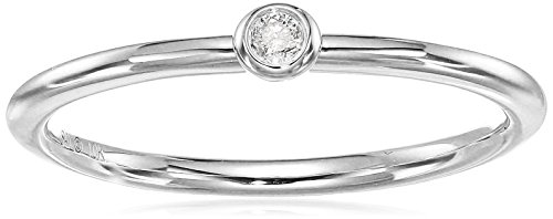 De Diamond Bezel (10k White Gold Diamond Accent Bezel Set Band Ring, Size 7)