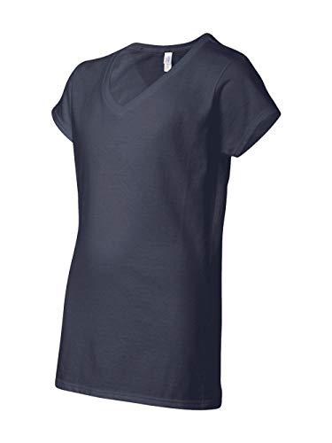 (Gildan Women's Preshrunk Heather V-Neck T-Shirt, Navy, Medium)