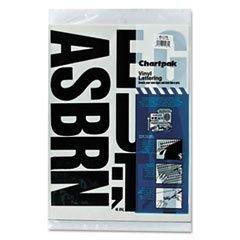 ** Press-On Vinyl Uppercase Letters, Self Adhesive, Black, 4''h, 58/Pack **