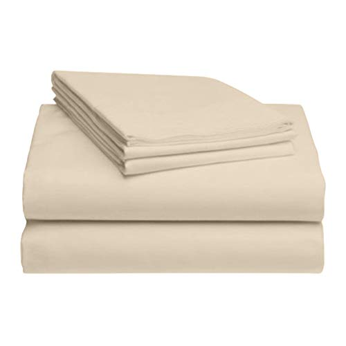 LuxClub 4 PC Sheet Set Bamboo Sheets Deep Pockets Eco Friendly Wrinkle Free Sheets Hypoallergenic Anti-Bacteria Machine Washable Hotel Bedding Silky Soft - Cream Queen