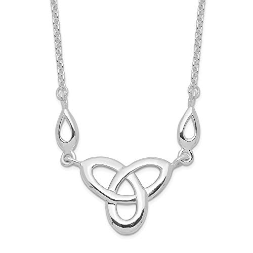 (925 Sterling Silver Irish Claddagh Celtic Knot 16 Inch 1.5in Extension Nec Necklace Pendant Charm Celtic/claddaugh Fine Jewelry Gifts For Women For Her)
