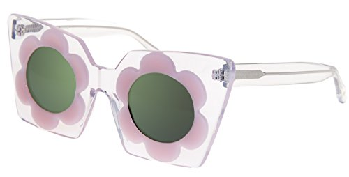 8f81ab5faa28 MARKUS LUPFER LINDA FARROW FLOWER Daisy Crystal Pink Green Mirrored ML9  Sunglasses