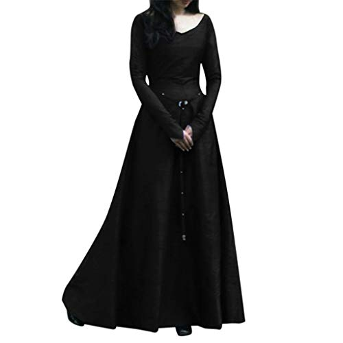 Medieval Costume, Women Plus Size Solid Vintage Renaissance Flared Long Sleeve Belted Cosplay Fancy Party Maxi Dress (Black, XXXL)
