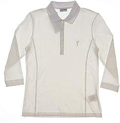 2ce39d2e Golfino New Womens Sun Protection 3/4 Sleeve Golf Polo Medium M White  2338120