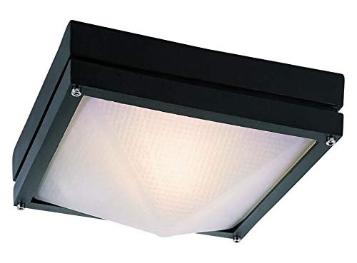 One Light Black White Frosted Hobnail Glass Outdoor Flush Mount ()