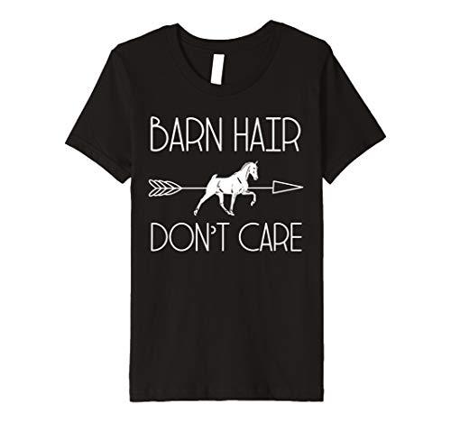 Kids Horse Girl tShirt Barn Hair Don't Care Racing Riding Gift ()