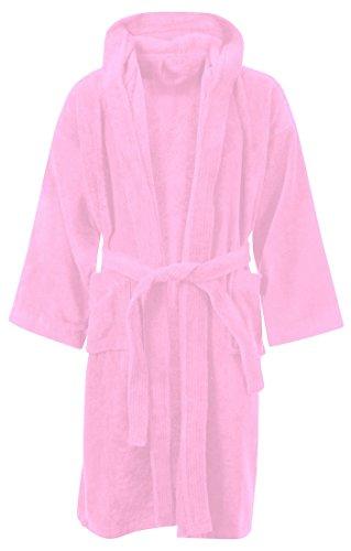 KIDS BOYS GIRLS BATHROBE 100% EGYPTIAN COTTON LUXURY VELOUR TOWELLING HOODED DRESSING GOWN SOFT FINE COMFORTABLE NIGHTWEAR TERRY TOWEL BATH ROBE LOUNGE WEAR HOUSECOAT (10-12 Years, Pink)