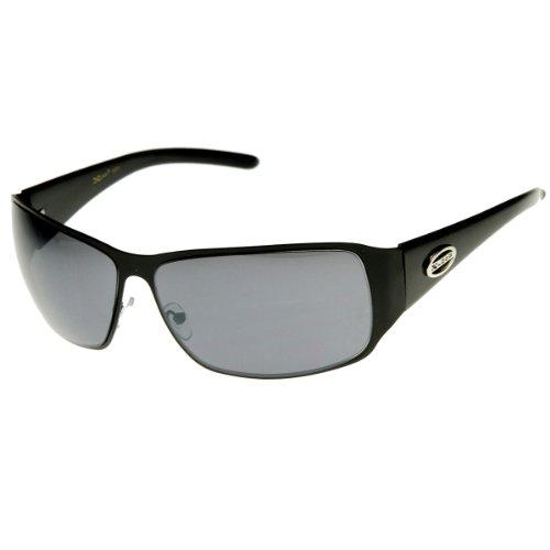 zeroUV - Large Square Metal Frame X-Loop Brand Sports Sunglasses (Shiny-Black - X Brand Eyewear
