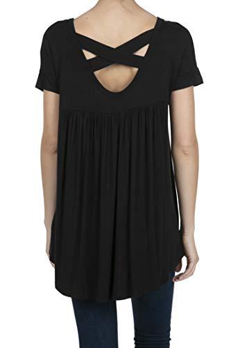 - SHOP DORDOR 9045 Women's Short Sleeve V-Neck High Low Criss Cross Back Tunic Tops Black XL