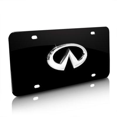 Infiniti Chrome 3D Logo Black Metal License Plate (Infiniti Emblem Gold compare prices)