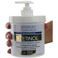 Advanced Clinicals Retinol Cream. Tamaño del spa para profesionales de salón. La fórmula hidratante penetra la piel para borrar la apariencia de líneas finas y arrugas. Sin perfume. 16 onzas