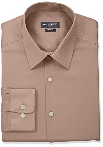 - Van Heusen Men's Flex Collar Slim Fit Stretch Dress Shirt, Light Chino, 17
