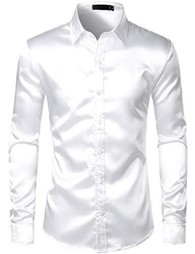 ZEROYAA Men's Luxury Slim Fit Silk Like Satin 70s Disco Shirt Party Prom Dress Shirts ZLCL14-White ()