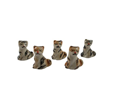 Cats Figurines Miniatures Cat set Cats Ceramic Cat Collection Painted Garden by Mr_air_thai_Miniature