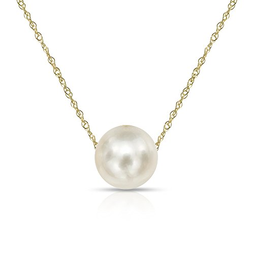 (14K Yellow Gold Chain with 9-9.5mm White Freshwater Cultured Pearl Floating Pendant Necklace, 18