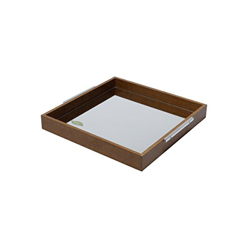 Woodart Naturals Wooden Serving Tray with Handles- Decorative tray/ Serving Platter- Eco-friendly (10x10'', With Mirror) by Wolff
