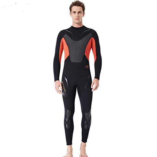 Full-Body Men Neoprene Wetsuit Surfing Swimming Diving Suit Wet for Cold Water Scuba Snorkeling Spearfishing Orange M