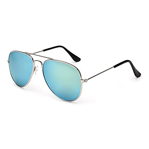 Xinmade Kids Aviator Sunglasses 100% UV Protection For Boys And Girls Age 3-10 (Silver Frame, Blue - Buy In Bulk Sunglasses