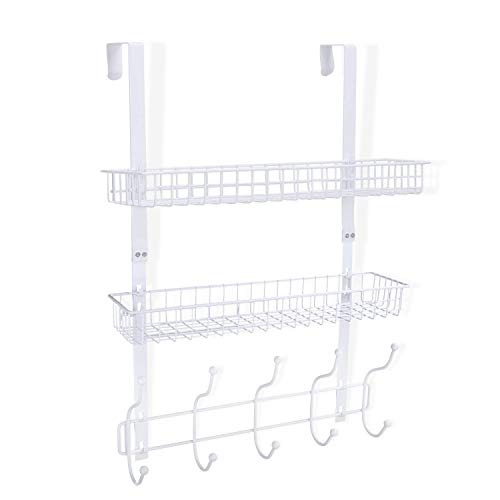 KEIMIX Coat Rack, Over The Door Hanger with Mesh Basket, Detachable Storage Shelf for Towels, Hats, Handbags, Coats (White-2 Layer)