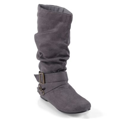 Collection Adi Designs (Journee Collection Women's 'Shelley-6' Regular and Wide-Calf Buckle Slouch Boot Grey Extra Wide 9)