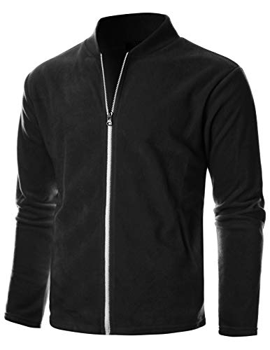GIVON Mens Slim Fit Long Sleeve Lightweight Polar Fleece Zip-up Cardigan with Kanga Pocket/DCF139-BLACK-2XL