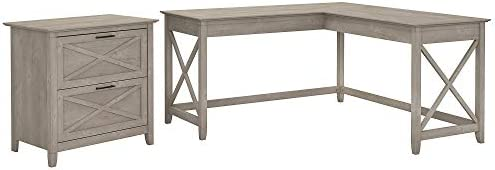 Bush Furniture Key West 60W L Shaped Desk with Lateral File Cabinet in Washed Gray