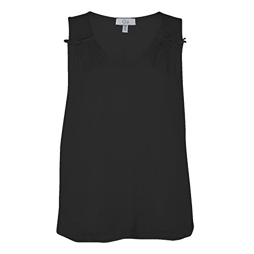 Clu Womens Silk Front Tank with Gathered Shoulder Black - Tank Silk Gathered