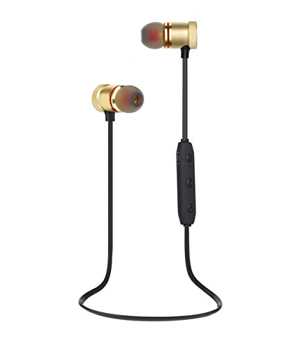Bluetooth Headphones, Magnetic Wireless Earbuds with Build-in Microphone Sweatproof Earpiece Noise Cancelling Sports Earphones for Workout and Running (Gold)