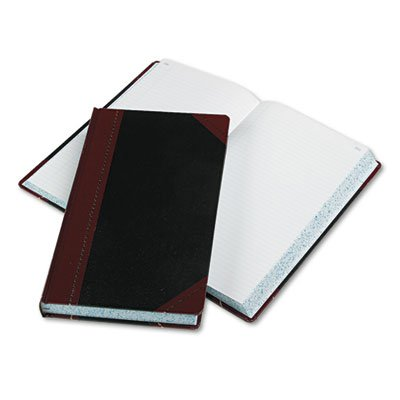 Account Book,Record-Ruled,500 Pages,14-1/8 quot;x8-5/8 quot;,Black/Red