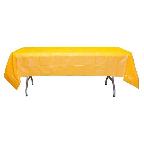 12-Pack Premium Plastic Tablecloth 54in. x 108in. Rectangle Table Cover - Yellow