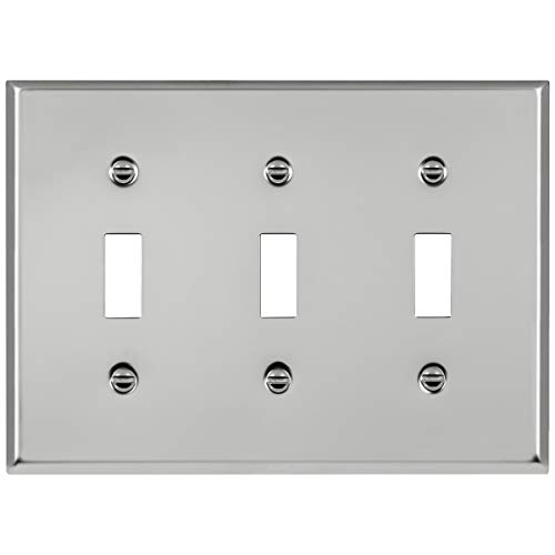 ENERLITES Toggle Light Switch Metal Wall Plate, Corrosive Resistant, Size 3-Gang 4.50