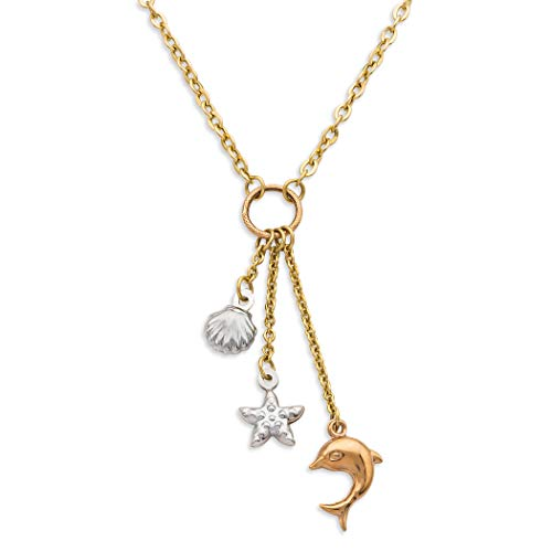Finejewelers 14K Yellow Gold 18 Inch Tri-Color Shell, Starfish, and Dolphin Dangle Sea Life Necklace