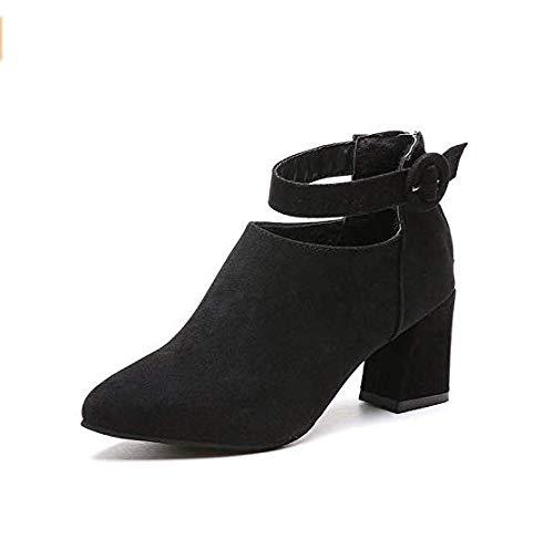 Eeayyygch High Heels Stiefeletten mit hohen Absätzen Kurze Stiefel mit hohen Absätzen Damenschuhe Dicke Spitze Eleganz (Farbe   schwarz Suede, Größe   35)