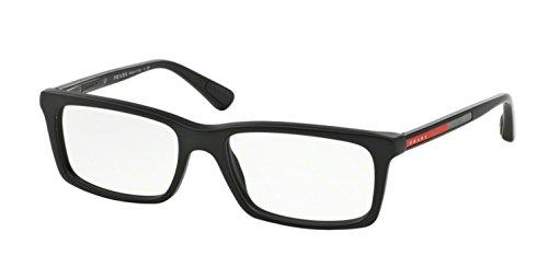 matte black black rubber frame prada sport (linea rossa) ps02cv eyeglasses