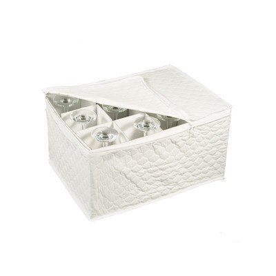 Stemware Storage Chest for Up to 12 Glasses, White