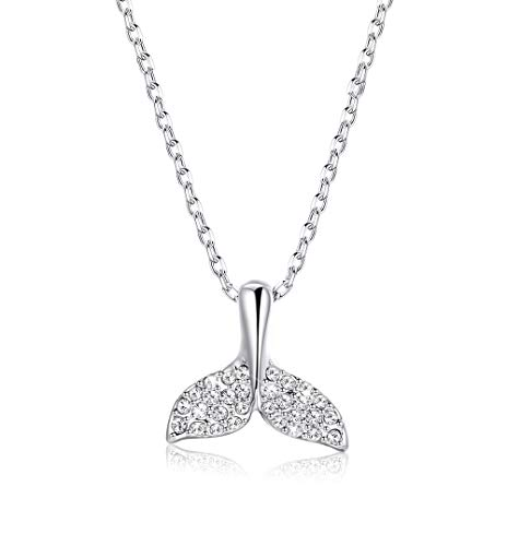 Sllaiss 18K White Gold Plated Mermaid Tail Fish Crystal Pendant Necklace for Women Girls Made with Swarovski Crystals, Unicorn Good Luck Necklace Cute Jewelry Gift ()