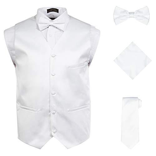 Vittorino Mens 4 Piece Formal Vest Set Combo with Tuxedo Vest Tie Bow Tie and Handkerchief, White, XXX-Large (3X) ()