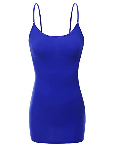 RT1002 Ladies Adjustable Spaghetti Strap Basic Long Cami Tank Top Royal M